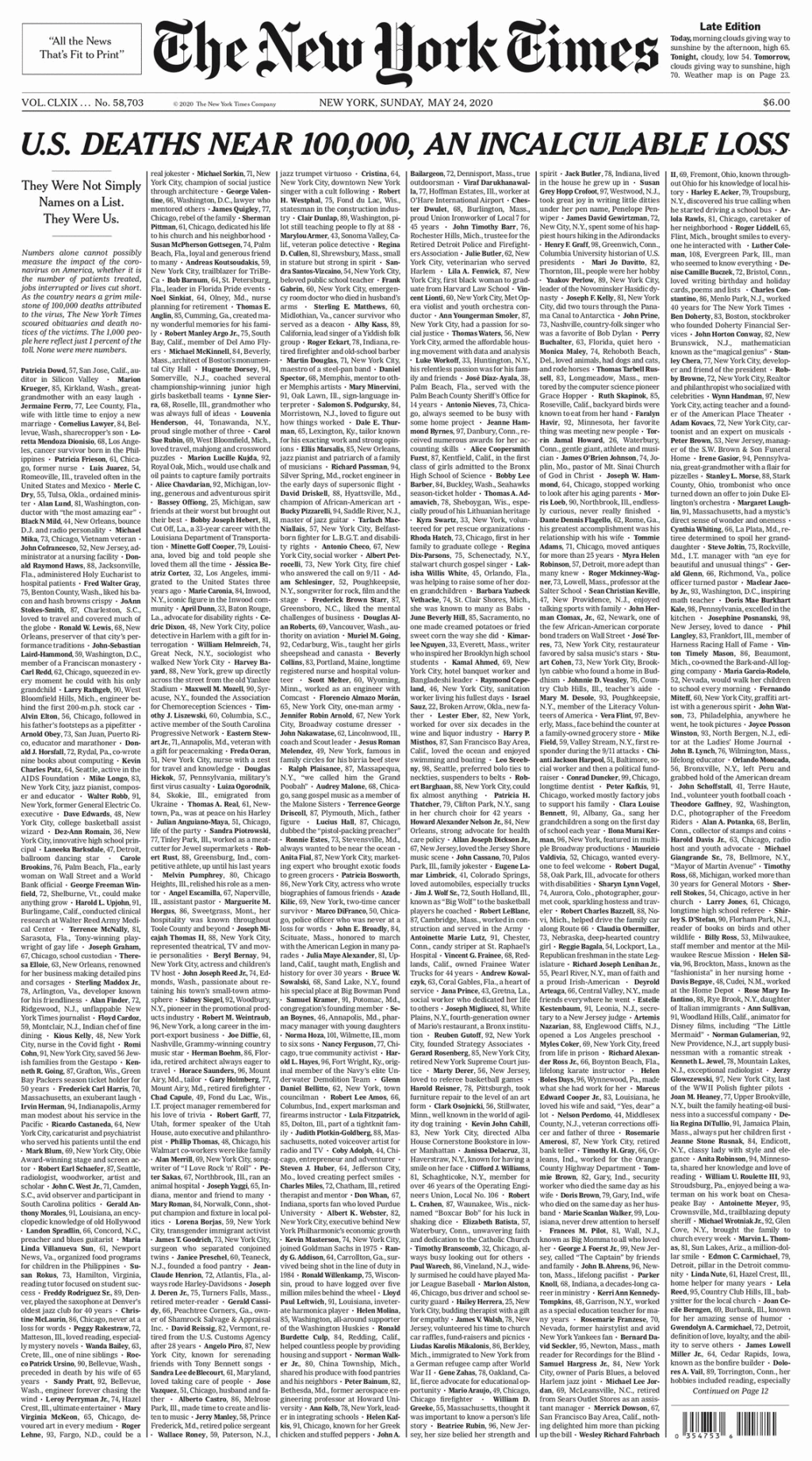 new-york-times-sunday-front-page-may-24-2020-covid-named-obits