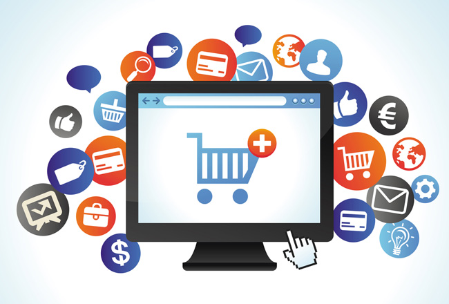 Vector internet shopping. Flat style design